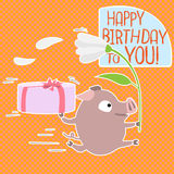 Vector Birthday card with funny pig. Royalty Free Stock Photos