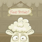 Vector  Birthday card with funny sheep Stock Photo