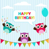 Vector birthday card with owls Royalty Free Stock Photography