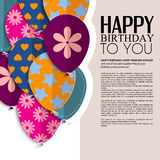 Vector birthday card with paper balloons and text. Stock Image
