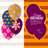 Vector birthday card with paper balloons and text. Royalty Free Stock Photography