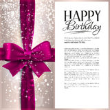 Vector birthday card with pink ribbon and birthday Royalty Free Stock Image