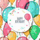 Vector birthday card with seamless pattern. Royalty Free Stock Image