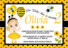 Vector Birthday Card Template with Cute Little Girl and Bee. Vector card template with cute little girl dressed as bee. Card template for birthday party on polka royalty free illustration