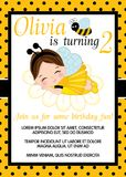 Vector Birthday Card Template with Cute Little Girl and Bee. Vector card template with cute little girl dressed as bee. Card template for birthday party on polka vector illustration