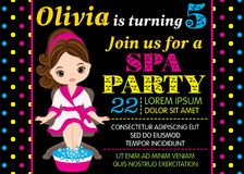 Vector Birthday Card Template with Cute Little Girl Taking Spa Treatment vector illustration