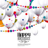 Vector birthday card with white balloons and. Birthday card with white balloons and confetti Royalty Free Stock Photo