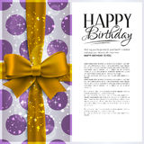 Vector birthday card with yellow ribbon and Stock Images