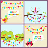 Vector birthday cards with birds Stock Photos