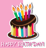Vector birthday chocolate cake Royalty Free Stock Photos