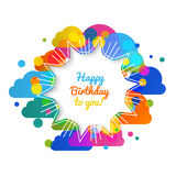 Vector birthday greeting card in bright warm Stock Photography