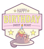 Vector birthday greeting card with fat cat and cake. Pale pastel colors. Cute design in cartoon style Royalty Free Stock Photos