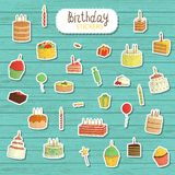 Vector Birthday illustration in cartoon style royalty free illustration