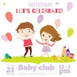 Vector birthday invitation card on baby party with. Vector invitation card on summer beach party with smiling and happy kids  in a cute and cartoon style. Bright Royalty Free Stock Photo