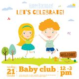 Vector birthday invitation card on baby party with. Vector invitation card on summer beach party with smiling and happy kids  in a cute and cartoon style. Bright Royalty Free Stock Images