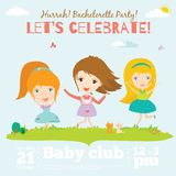 Vector birthday invitation card on baby party with. Vector invitation card on summer beach party with smiling and happy kids  in a cute and cartoon style. Bright Stock Photo