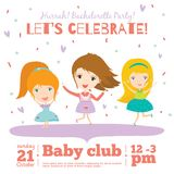 Vector birthday invitation card on baby party with. Vector invitation card on summer beach party with smiling and happy kids  in a cute and cartoon style. Bright Royalty Free Stock Photography