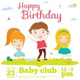 Vector birthday invitation card on baby party with. Vector invitation card on summer beach party with smiling and happy kids  in a cute and cartoon style. Bright Royalty Free Stock Photos