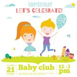 Vector birthday invitation card on baby party with Royalty Free Stock Photo