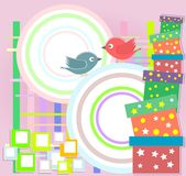 Vector birthday party card with cute birds Royalty Free Stock Photos