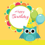 Vector birthday party card with owl Royalty Free Stock Photography
