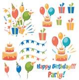 Vector birthday party elements Royalty Free Stock Photos