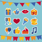 Vector birthday and party icons and signs royalty free illustration