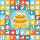 Vector birthday and party icons and signs Royalty Free Stock Image