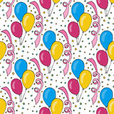 Vector birthday pattern with colorful balloons. Seamless background for holiday cards and party decoration. S Royalty Free Stock Image