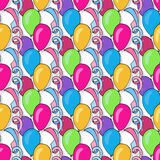 Vector birthday seamless pattern with colorful balloons. Background for holiday cards and festival decoration Royalty Free Stock Images
