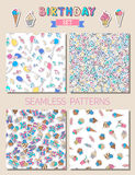 Vector birthday set of seamless patterns. Royalty Free Stock Photography