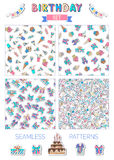 Vector birthday set of seamless patterns. Royalty Free Stock Photo