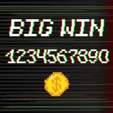 Vector 8 bit Big win. Vector 8 bit pixel art style phrase Big win with 0-9 numbers and golden coin. Template for prize banner. Glitch VHS effect Stock Photography