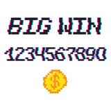 Vector 8 bit Big win. Vector 8 bit pixel art style phrase Big win with 0-9 numbers and golden coin. Template for prize banner. Glitch VHS effect Stock Image