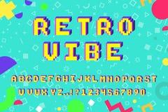 Vector 8 bit pixel art latin alphabet 3D. Vector 8-bit pixel art latin alphabet with 3D effect. Letters, numbers and symbols. 90s retro style vector illustration