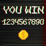 Vector 8 bit You win. Vector 8 bit pixel art style phrase You win with 0-9 numbers and golden coin. Template for prize banner. Glitch VHS effect Royalty Free Stock Photography