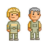 Vector 8 bit pixel firefighters. On white background Royalty Free Stock Photos