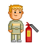 Vector 8 bit pixel firefighters. On white background Royalty Free Stock Image