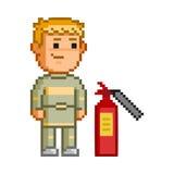 Vector 8 bit pixel firefighters Royalty Free Stock Image