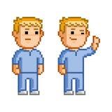 Vector 8 bit pixel set of doctors. And surgeons stock illustration