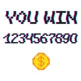 Vector 8 bit You win. Vector 8 bit pixel art style phrase You win with 0-9 numbers and golden coin. Template for prize banner. Glitch VHS effect Stock Photography