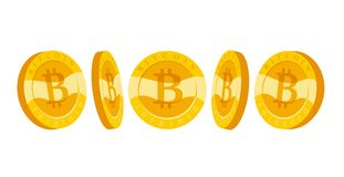 Vector bitcoin collection flat illustration  on white background. Cryptocurrency golden symbol. Digital money pile, bit coin emblem, golden coin with bitcoin Stock Images