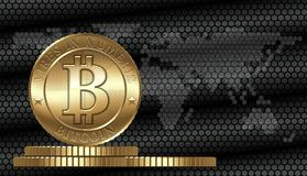 Vector Bitcoin Concept. Cryptocurrency coin on digital world map background. Available CDR-10 vector format separated by groups for easy edit Stock Images