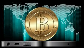 Vector Bitcoin Concept. Cryptocurrency coin at the gadget on digital world map background. Available CDR-10 vector format separated by groups for easy edit Royalty Free Stock Images