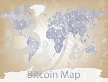 Vector bitcoin cryptocurrency map. Worldwide background with Chart diagram, graphic payments, money transfers financial. Concept Stock Images