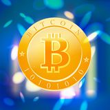 Vector bitcoin flat illustration  on blue blurred background. Cryptocurrency golden symbol. Digital money emblem, golden coin with bitcoin symbol design Stock Image