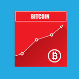 Vector bitcoin growth graph on blue background. Bitcoin hype concept vector illusrtation with blank space fo text Royalty Free Stock Photo