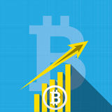Vector bitcoin growth graph on blue background. Bitcoin hype concept vector illusrtation with blank space fo text Stock Images