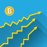 Vector bitcoin growth graph on blue background. Bitcoin hype concept vector illusrtation with blank space fo text Stock Photography