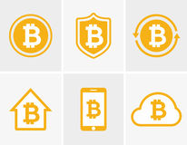 Vector bitcoin logo. Bitcoin icon. Bitcoin cloud icon. Bitcoin shield icon. Bitcoin phone icon. Bitcoin house icon Royalty Free Stock Photos